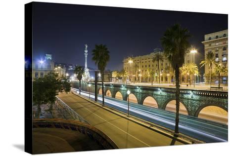 Spain, Catalonia, Barcelona, Ronda Del Litoral, Evening-Rainer Mirau-Stretched Canvas Print
