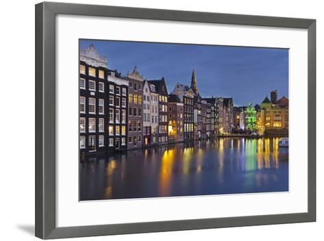 Channel Houses Damrak, Steeple of 'Oude Kirk', Amsterdam, Netherlands-Rainer Mirau-Framed Art Print