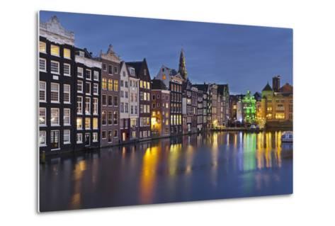 Channel Houses Damrak, Steeple of 'Oude Kirk', Amsterdam, Netherlands-Rainer Mirau-Metal Print