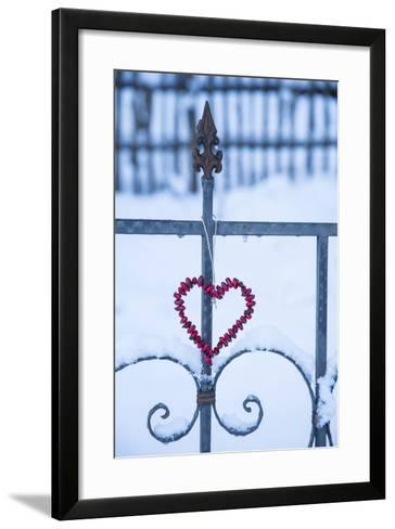 Heart on the Fence and Snow-Andrea Haase-Framed Art Print