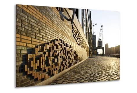 Modern, Brick Flood Protection Wall, Backlit, Flood Protection, Kaiserkai-Axel Schmies-Metal Print