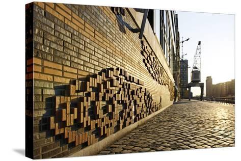 Modern, Brick Flood Protection Wall, Backlit, Flood Protection, Kaiserkai-Axel Schmies-Stretched Canvas Print