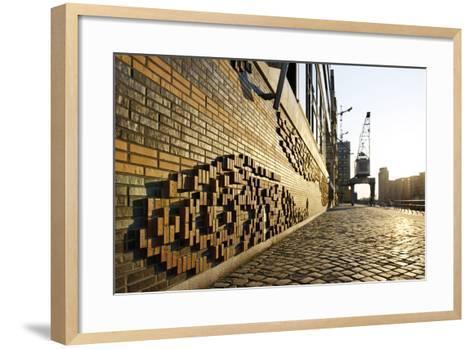 Modern, Brick Flood Protection Wall, Backlit, Flood Protection, Kaiserkai-Axel Schmies-Framed Art Print