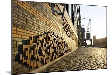 Modern, Brick Flood Protection Wall, Backlit, Flood Protection, Kaiserkai-Axel Schmies-Mounted Photographic Print