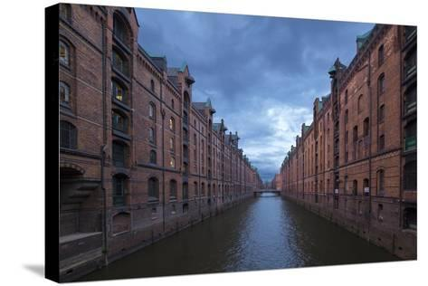Hamburg, Speicherstadt, Brooksfleet, Evening Mood-Catharina Lux-Stretched Canvas Print