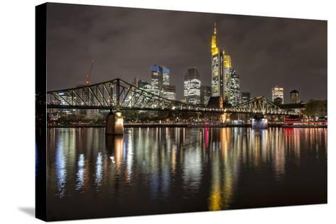 Germany, Hesse, Frankfurt Am Main, Financial District, Skyline with Iron Footbridge at Dusk-Bernd Wittelsbach-Stretched Canvas Print