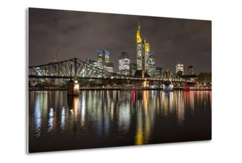 Germany, Hesse, Frankfurt Am Main, Financial District, Skyline with Iron Footbridge at Dusk-Bernd Wittelsbach-Metal Print