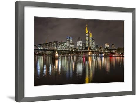 Germany, Hesse, Frankfurt Am Main, Financial District, Skyline with Iron Footbridge at Dusk-Bernd Wittelsbach-Framed Art Print