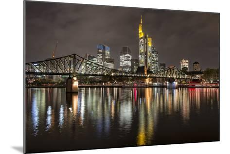 Germany, Hesse, Frankfurt Am Main, Financial District, Skyline with Iron Footbridge at Dusk-Bernd Wittelsbach-Mounted Photographic Print