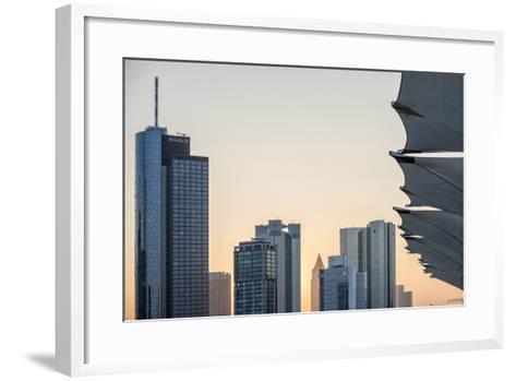 Germany, Hesse, Frankfurt Am Main, Frankfurt, Financial District, Sundown-Bernd Wittelsbach-Framed Art Print