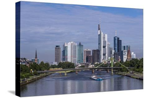Germany, Hessen, View from DeutschherrnbrŸcke on Main-Udo Siebig-Stretched Canvas Print