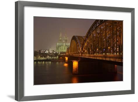 Germany, North Rhine-Westphalia, View from the Rhine from the Deutz Rhine Banks-Andreas Keil-Framed Art Print