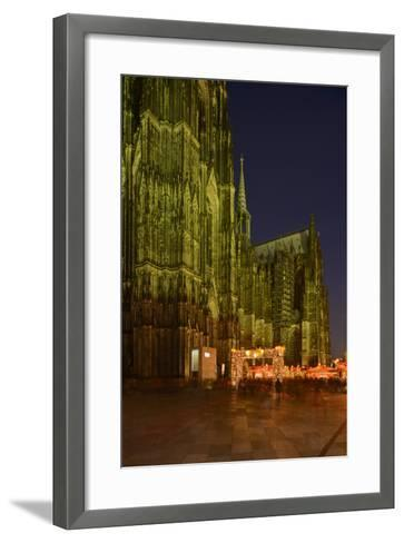 Germany, North Rhine-Westphalia, Cologne, Place Roncalli, Christmas Fair and Cologne Cathedral-Andreas Keil-Framed Art Print