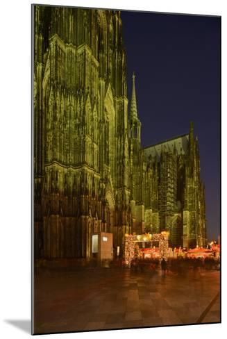 Germany, North Rhine-Westphalia, Cologne, Place Roncalli, Christmas Fair and Cologne Cathedral-Andreas Keil-Mounted Photographic Print