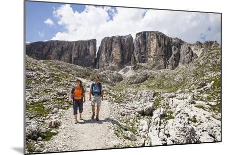 Hiker in the Vallonkar, in Front of Bo?seekofel, the Dolomites-Gerhard Wild-Mounted Photographic Print