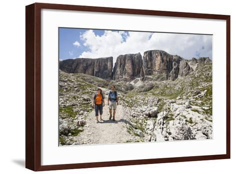 Hiker in the Vallonkar, in Front of Bo?seekofel, the Dolomites-Gerhard Wild-Framed Art Print