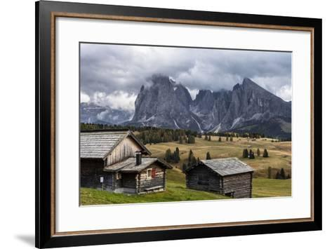 Europe, Italy, the Dolomites, South Tyrol, Seiseralm, Langkofel and Plattkofel, Alpine Huts-Gerhard Wild-Framed Art Print