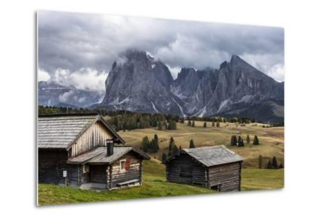 Europe, Italy, the Dolomites, South Tyrol, Seiseralm, Langkofel and Plattkofel, Alpine Huts-Gerhard Wild-Metal Print