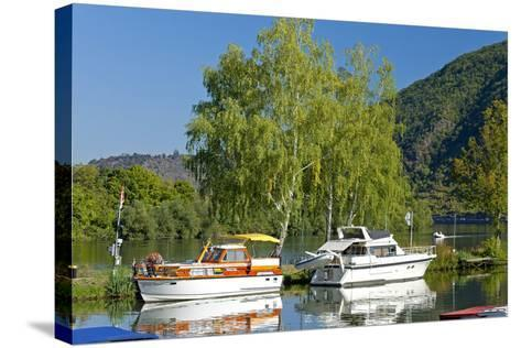 Germany, Rhineland-Palatinate, the Moselle, Niederfell, Harbour Landing Pier, Boats, Yachts-Chris Seba-Stretched Canvas Print