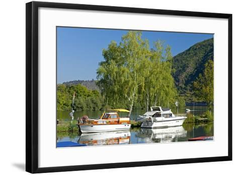 Germany, Rhineland-Palatinate, the Moselle, Niederfell, Harbour Landing Pier, Boats, Yachts-Chris Seba-Framed Art Print