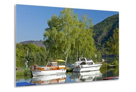 Germany, Rhineland-Palatinate, the Moselle, Niederfell, Harbour Landing Pier, Boats, Yachts-Chris Seba-Metal Print