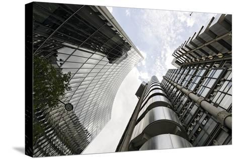 Modern Architecture, Lloyd'S, Lloyds Building, Tower by Architect Richard Rogers, London-Axel Schmies-Stretched Canvas Print