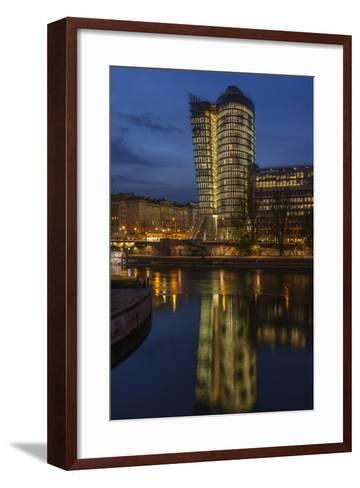 Austria, Vienna, Building of the Uniqa Insurance, Reflexion in the Donaukanal (Danube Canal-Gerhard Wild-Framed Art Print