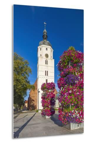 Europe, Germany, Brandenburg, Spreewald, LŸbben, Market Church, Floral Decoration-Chris Seba-Metal Print