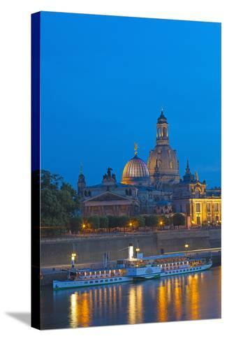 Europe, Germany, Saxony, Dresden, Bank of River Elbe, Church of Our Lady, Cruise Vessels-Chris Seba-Stretched Canvas Print