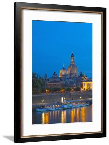Europe, Germany, Saxony, Dresden, Bank of River Elbe, Church of Our Lady, Cruise Vessels-Chris Seba-Framed Art Print