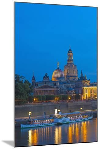 Europe, Germany, Saxony, Dresden, Bank of River Elbe, Church of Our Lady, Cruise Vessels-Chris Seba-Mounted Photographic Print