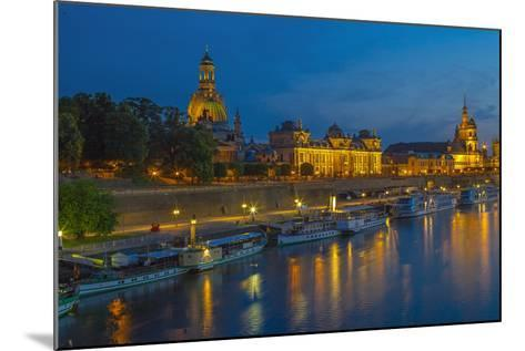 Europe, Germany, Saxony, Dresden, Elbufer (Bank of the River Elbe) by Night, Excursion Ships-Chris Seba-Mounted Photographic Print