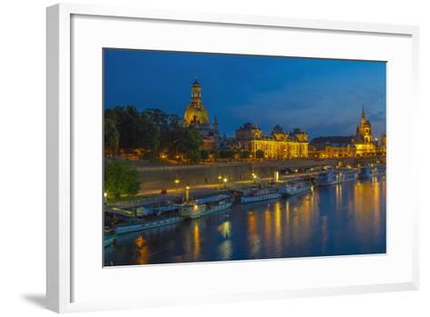 Europe, Germany, Saxony, Dresden, Elbufer (Bank of the River Elbe) by Night, Excursion Ships-Chris Seba-Framed Art Print
