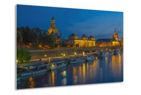 Europe, Germany, Saxony, Dresden, Elbufer (Bank of the River Elbe) by Night, Excursion Ships-Chris Seba-Metal Print