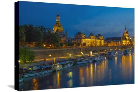 Europe, Germany, Saxony, Dresden, Elbufer (Bank of the River Elbe) by Night, Excursion Ships-Chris Seba-Stretched Canvas Print