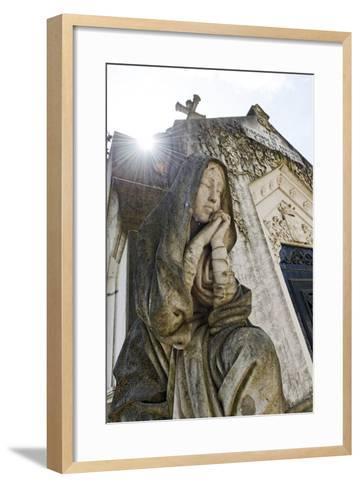 Historical Cemetery, Tomb, Burial Chamber, Statue, Cemiterio Dos Prazeres-Axel Schmies-Framed Art Print