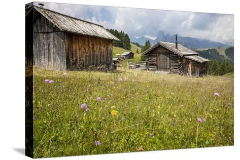 Alpine Huts at the Plateau of the Pralongia, St. Kassian, Val Badia, South Tyrol, Italy, Europe-Gerhard Wild-Stretched Canvas Print