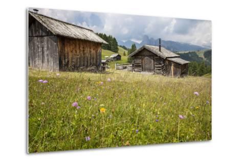 Alpine Huts at the Plateau of the Pralongia, St. Kassian, Val Badia, South Tyrol, Italy, Europe-Gerhard Wild-Metal Print