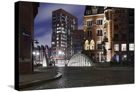 Architecture Old and Modern, Arabica House in the †berseequartier, Speicherstadt-Axel Schmies-Stretched Canvas Print