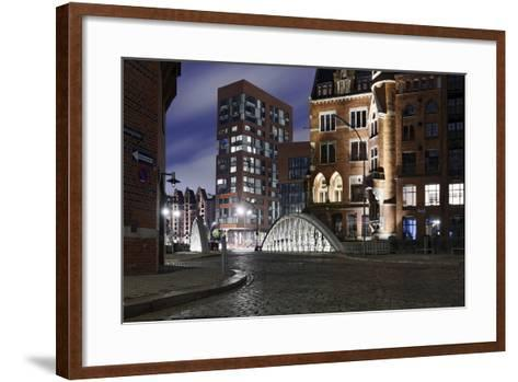 Architecture Old and Modern, Arabica House in the †berseequartier, Speicherstadt-Axel Schmies-Framed Art Print