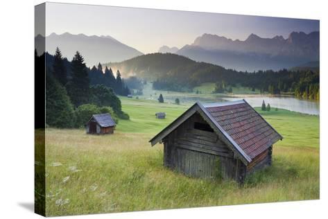 Germany, Bavaria, Lake Geroldsee, Northern Karwendel Range, Huts-Rainer Mirau-Stretched Canvas Print