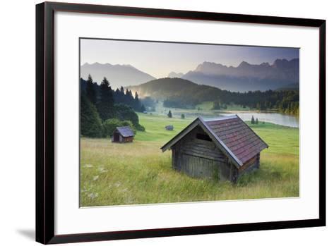 Germany, Bavaria, Lake Geroldsee, Northern Karwendel Range, Huts-Rainer Mirau-Framed Art Print