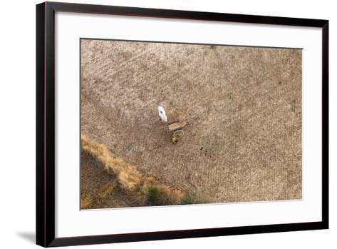 Aerial View of Farmer Working on a Field in Bagan, Myanmar-Harry Marx-Framed Art Print