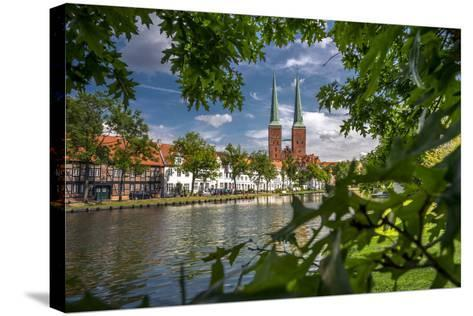 Germany, Schleswig - Holstein, L?beck (City), Old Town, Cathedral, Trave (River)-Ingo Boelter-Stretched Canvas Print