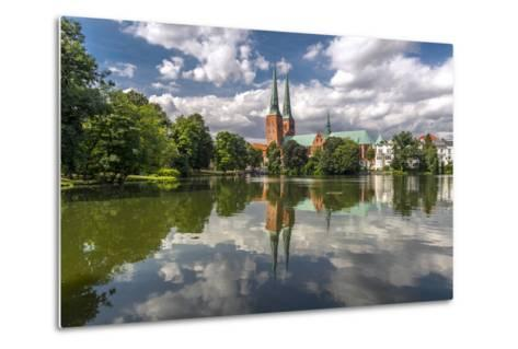 Germany, Schleswig - Holstein, LŸbeck (City), Old Town, Cathedral, Trave (River)-Ingo Boelter-Metal Print