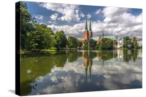 Germany, Schleswig - Holstein, LŸbeck (City), Old Town, Cathedral, Trave (River)-Ingo Boelter-Stretched Canvas Print