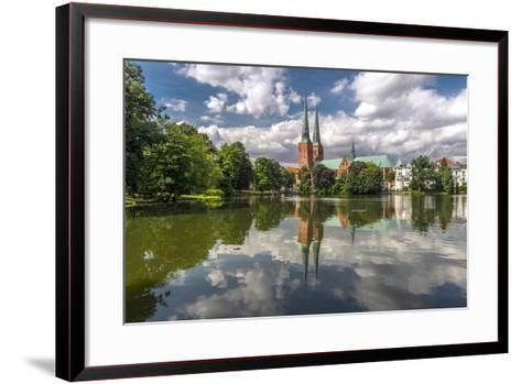 Germany, Schleswig - Holstein, LŸbeck (City), Old Town, Cathedral, Trave (River)-Ingo Boelter-Framed Art Print