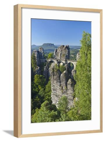 Europe, Germany, Saxony, Elbsandsteingebirge, Bastion-Chris Seba-Framed Art Print