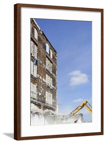 Demolition of Old Buildings, Shanghaiallee, Hafencity, Mitte, Hanseatic City of Hamburg, Germany-Axel Schmies-Framed Art Print