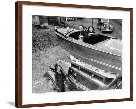Chris-Craft Girls with Two Classics--Framed Art Print